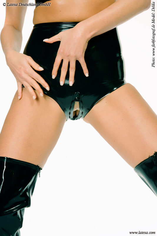 Latexové kalhotky s pysky - la1155