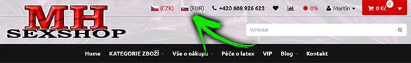 Přepínání měn v MH Sexshop - PC